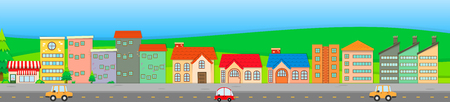 Suburb scene with houses and cars illustration Illustration