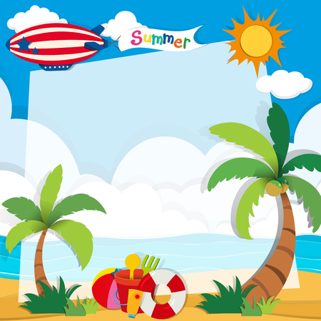 Summer time on the beach illustration