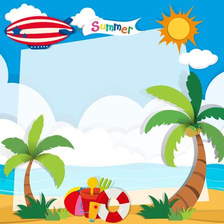 海滩上的夏日插图