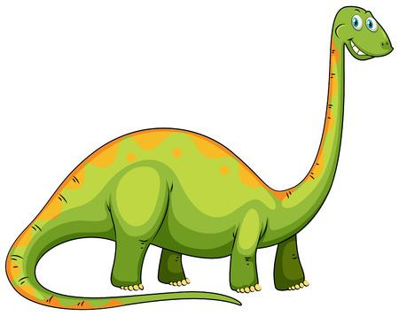 animales salvajes: Dinosaurio verde con la ilustraci�n de cuello largo