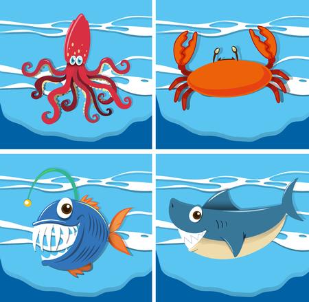 sea animals: Ocean scene with sea animals underwater illustration