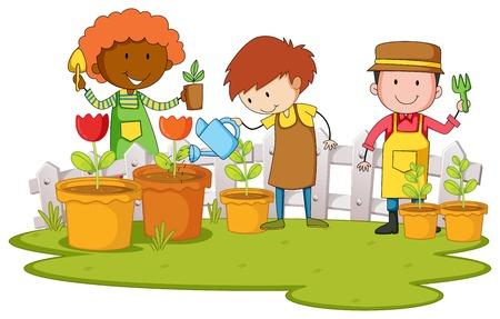 planting tree: Gardeners planting tree and flower in garden illustration