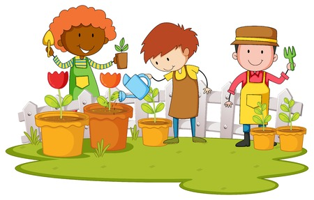 Gardeners planting tree and flower in garden illustration