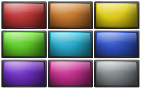 square buttons: Square buttons in nine colors illustration