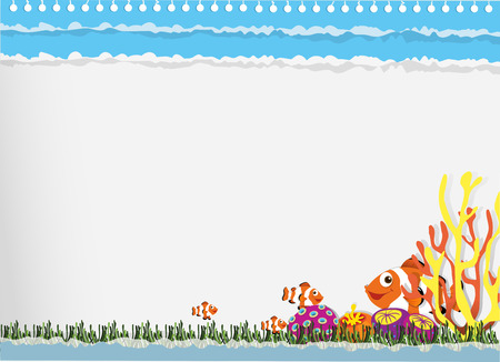 clownfish: Paper design with clownfish underwater illustration Illustration