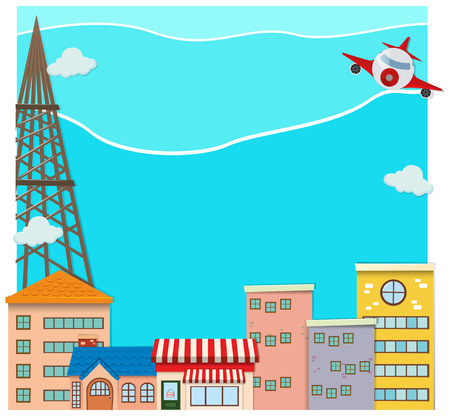 buidings: Airplane flying over the city illustration Illustration