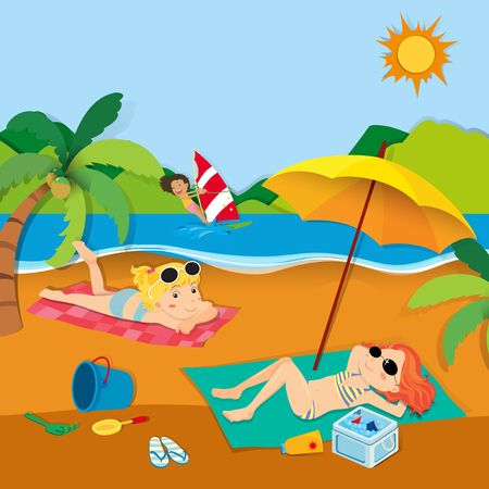 Summer Vacation With People On The Beach Illustration Vector