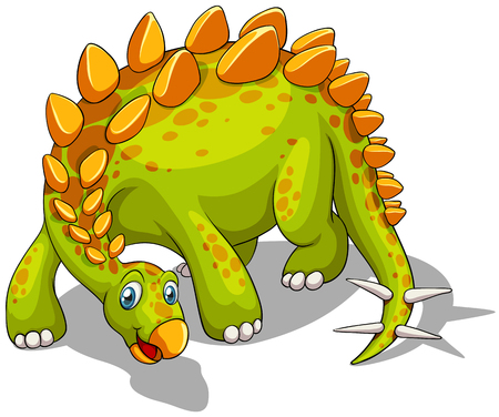 spikes: Green dinosaur with spikes tail illustration
