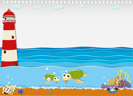 water  scenic: Ocean scene with lighthouse and animals illustration