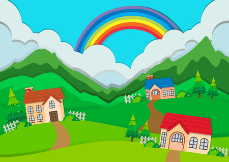 hills: Countryside scene with houses on hills illustration