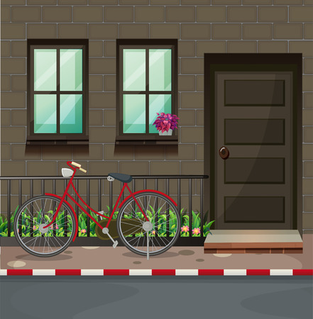 front of house: Bicycle parking in front of the house illustration Illustration