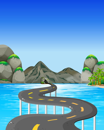 mountain road: Road to the mountain illustration
