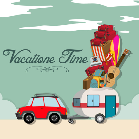 vacation time: Vacation time with car full of luggages illustration