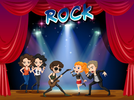 concert band: Rock band playing on stage illustration