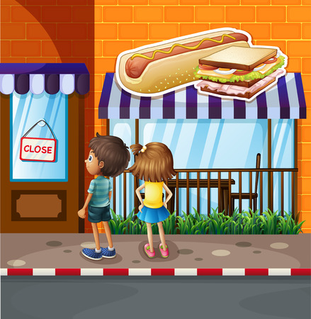 close: Boy and girl in front of restaurant illustration