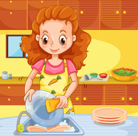 kitchen cleaning: Woman cleaning dishes in the kitchen illustration Illustration