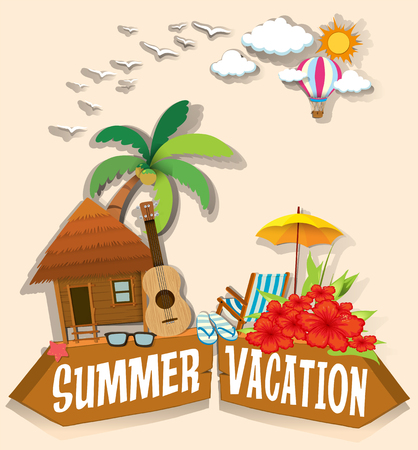 bungalow: Summer vacation theme with bungalow illustration