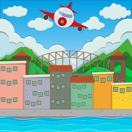 residential neighborhood: Airplane flying over the town illustration