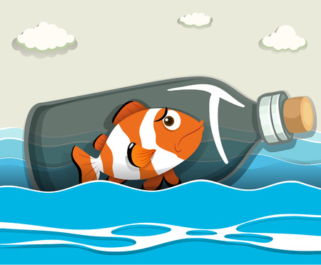 peces payaso: Pez payaso en la botella al mar Ilustraci�n Vectores