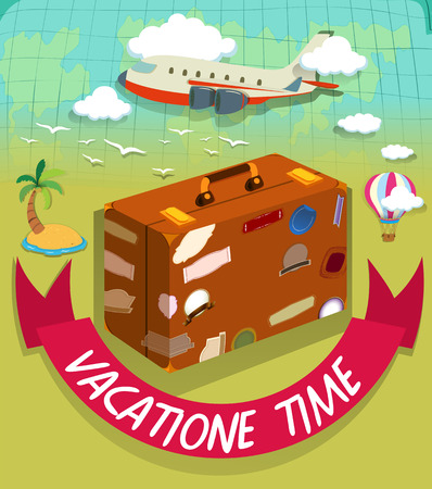 vacation time: Vacation time with luggage and plane illustration