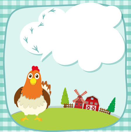 farm animal: Border design with chicken on the farm illustration Illustration