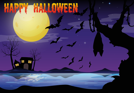 house drawing: Halloween theme with lake and bat flying illustration Illustration