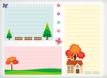 butterfly stationary: Line paper design with house and tree illustration Illustration