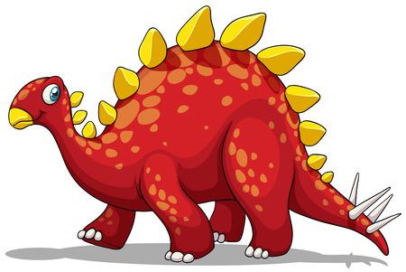 dinosauro: Dinosauro rosso con picchi di coda illustrazione