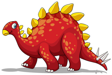 prehistoric animals: Red dinosaur with spikes tail illustration