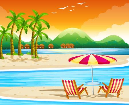 椅子と傘のイラストとビーチのシーン