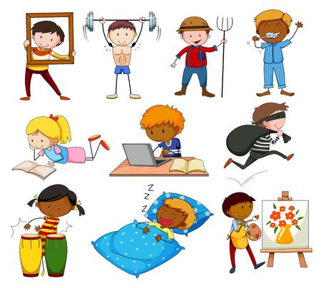 chicos: Gente que hace diferentes actividades ilustración