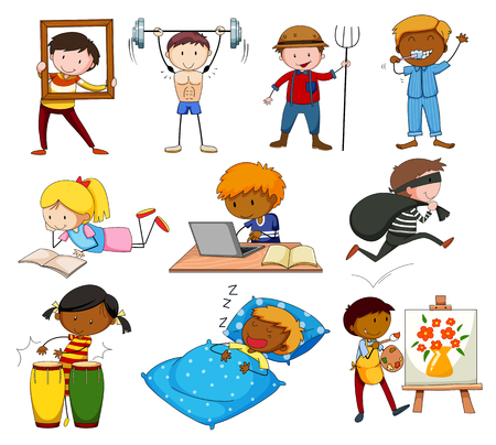 bodybuilding: People doing different activities illustration