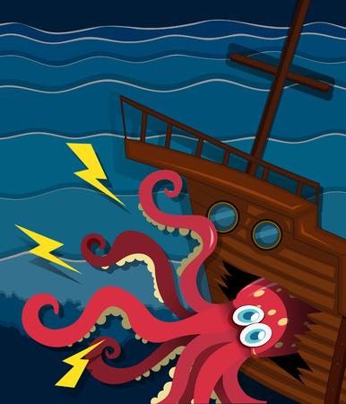 crashing: Giant octopus crashing a ship illustration