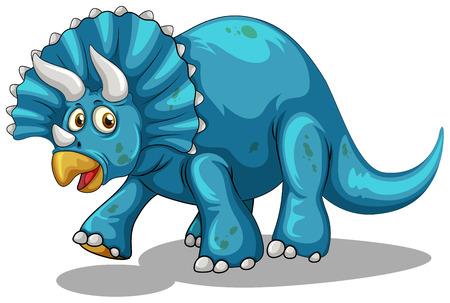 prehistoric animals: Blue dinosaur with horns illustration
