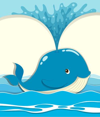 splashing water: Whale splashing water out illustration