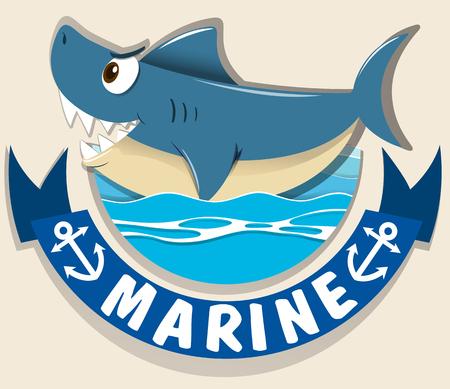 carnivorous fish: Marine logo with shark illustration