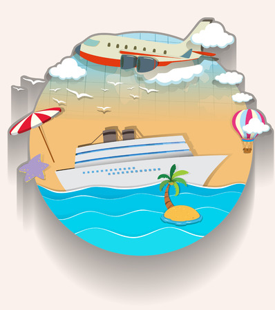 cruise travel: Travel theme with cruise and airplane illustration