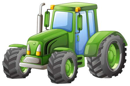 Green tractor with big wheels illustration
