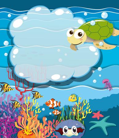 sea animals: Underwater scene with sea animals illustration