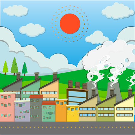 residential neighborhood: Buildings and factory along the road illustration