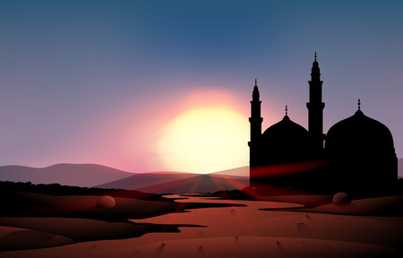 afterglow: Nature scene with mosque during sunset illustration Illustration