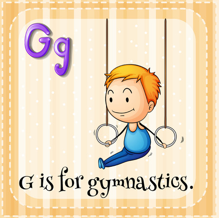 man working out: Flashcard alphabet G is for gymnastics illustration