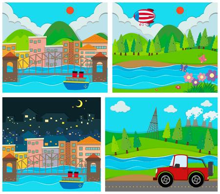 rural scene: Four scene of rural and urban area illustration
