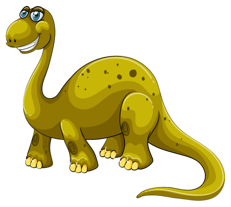 green face: Green sauropod with happy face illustration