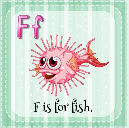 puffer fish: Flashcard letter F is for fish illustration Illustration