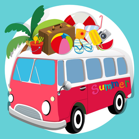 sandles: Summer theme with van loaded with things illustration Illustration