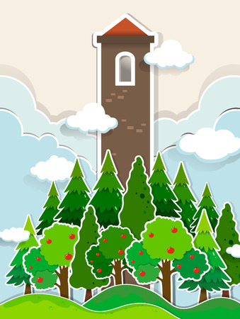 jungle: Tall tower in the jungle illustration