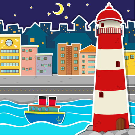 lighthouse at night: City scene with lighthouse and river at night illustration