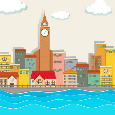 City view with clock tower and buildings illustration