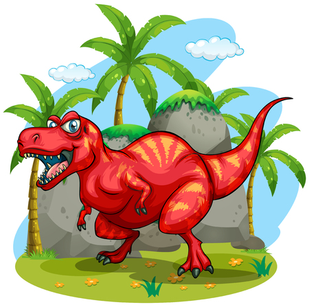 illustration herbe: T-Rex standing on grass illustration Illustration
